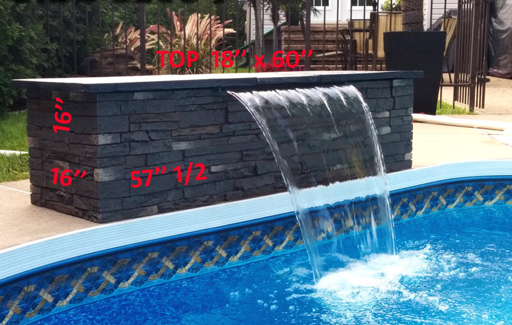 Mesurment of the pre-assembled modern pool waterfall